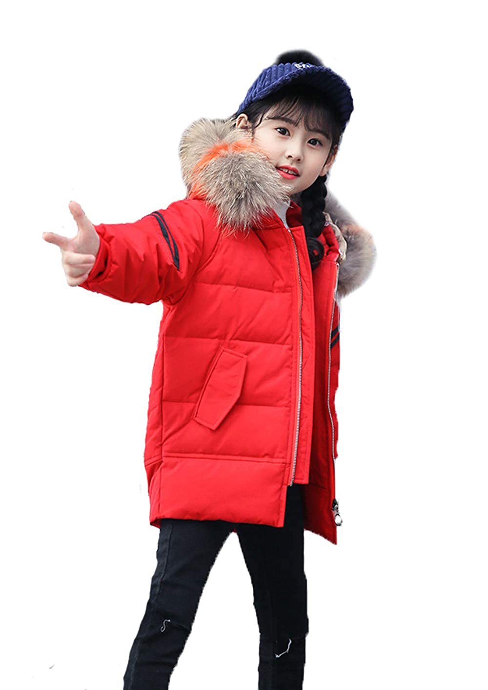 YEEFINE SNOWING Girls Fashion Hooded Down Jacket Padded Short Coat YS