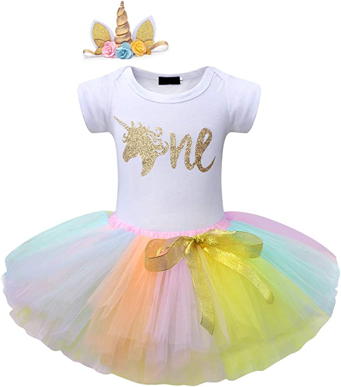 Cotrio Newborn Unicorn 1st Birthday Tutu Dress Baby Girls Party Romper Outfits Clothes Set with Headband
