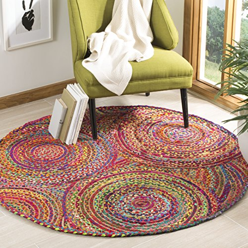 Safavieh Cape Cod Collection CAP203A Handmade Red and Multicolored Jute Round Area Rug (5' in Diameter) ()