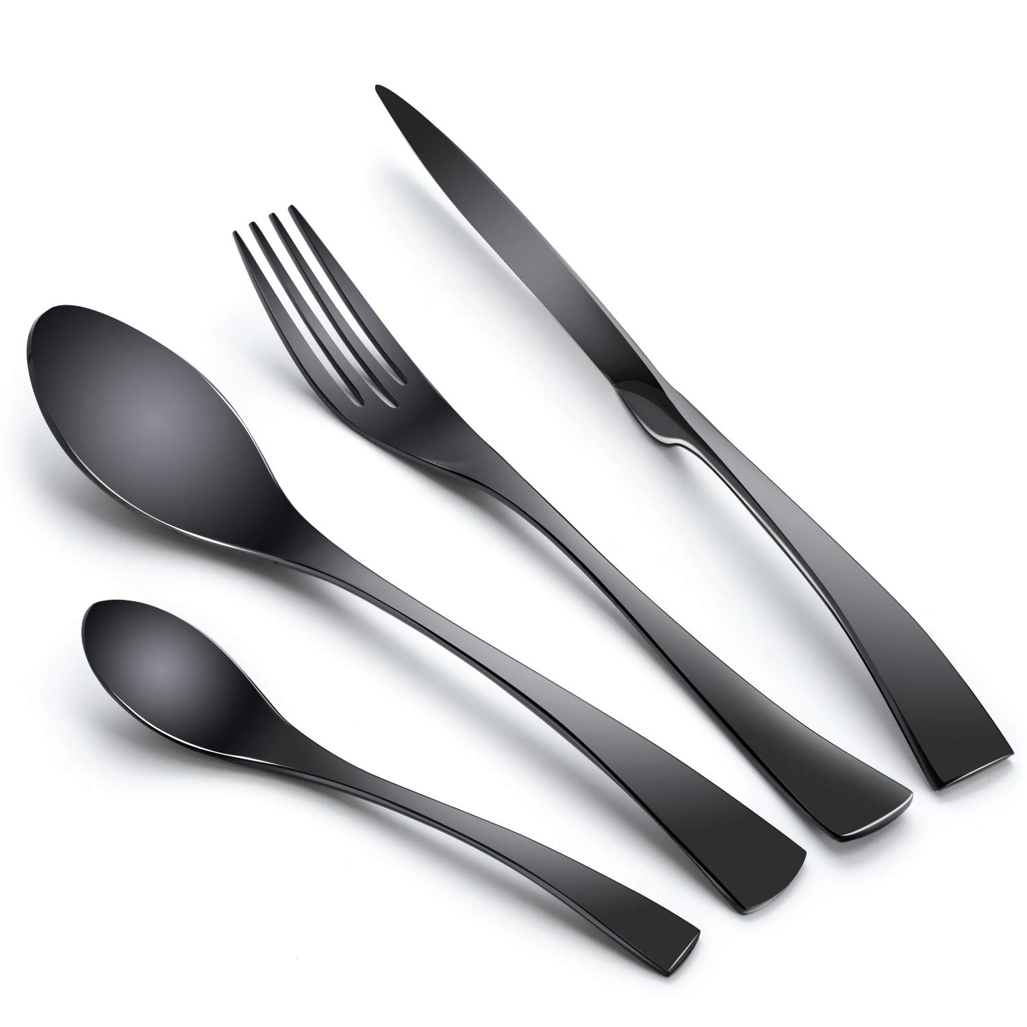TaNaT 8-Piece Stainless Steel Flatware Set Titanium Black Plated Silverware Utensil Cutlery Set Western Tableware Set Service for 2, Modern Forks and Spoons Set,Mirror Polished and Dishwasher Safe