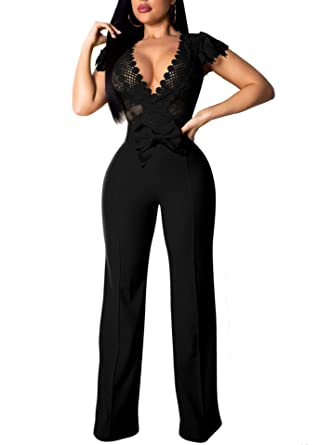 2a2cfc79c0f1 IyMoo Jumpsuits for Women Sexy - Womens Sexy See Through BodyconSlim Wide Pants  Romper Black S