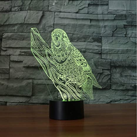 Zonxn 3D Visual Nightlight Touch Button Acrylic Parrot Led