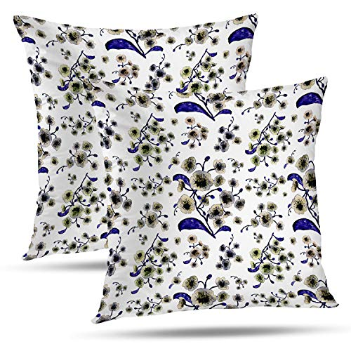 Batmerry Spring Pillows Decorative Throw Pillow Covers 18x18 Inch Set of 2, Colorful Abstract Orchid Watercolor Bloom Blossom Bouquet Bright Double Sided Square Pillow Cases Pillowcase Sofa Cushion (Bouquet 2 Spring)
