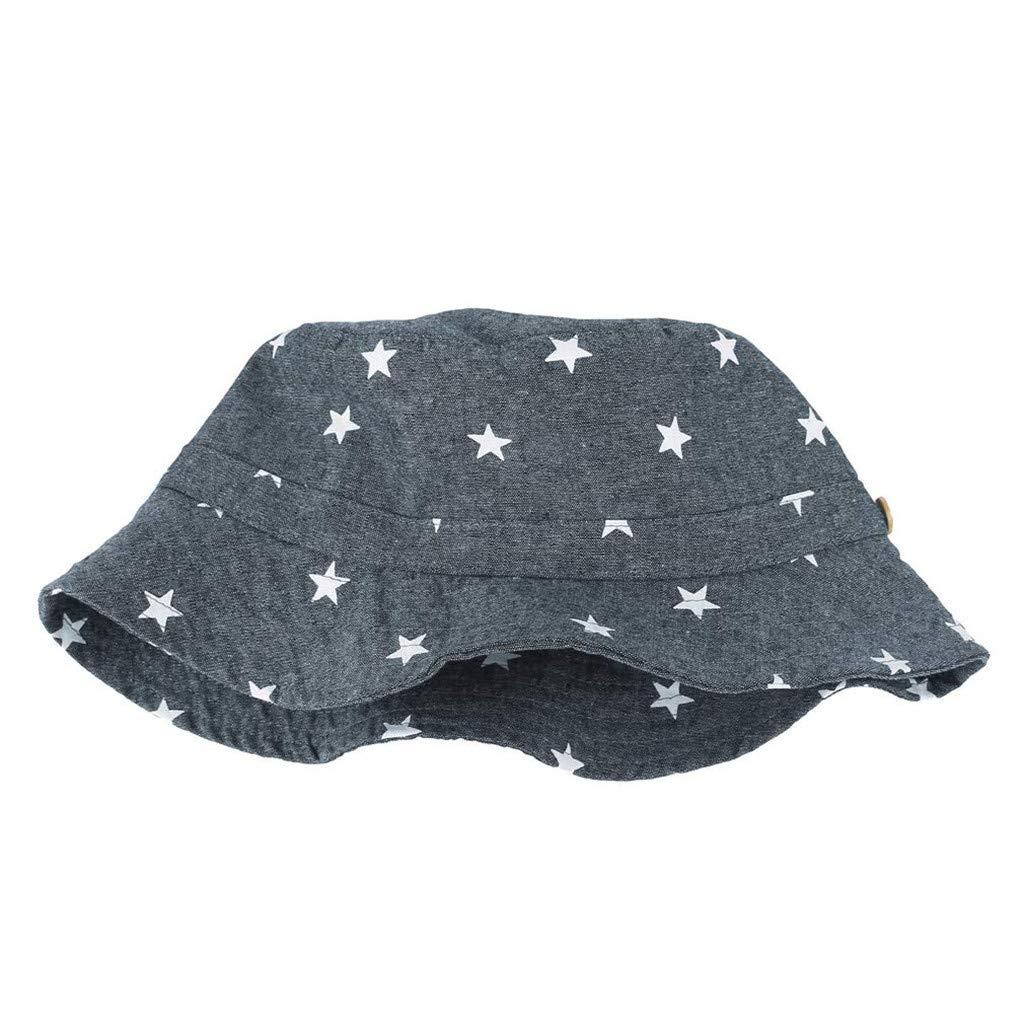 Tantisy /♣↭/♣ Sun Hats for Infants ☘ Baby Girl Boy Star Print Fishermans Hat Adjustable Breathable Bucket Cap Sunscreen Cap
