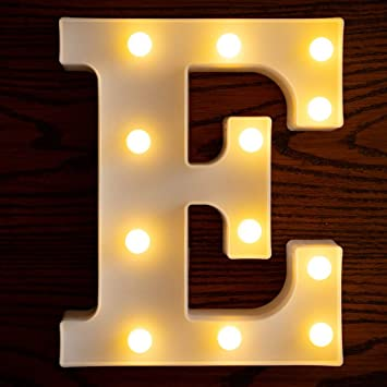 Yorulory LED Letter Lights Sign Letters Light Up Letters Sign for Night Light Wedding Birthday Party Battery Powered Christmas Lamp Home Bar (E)