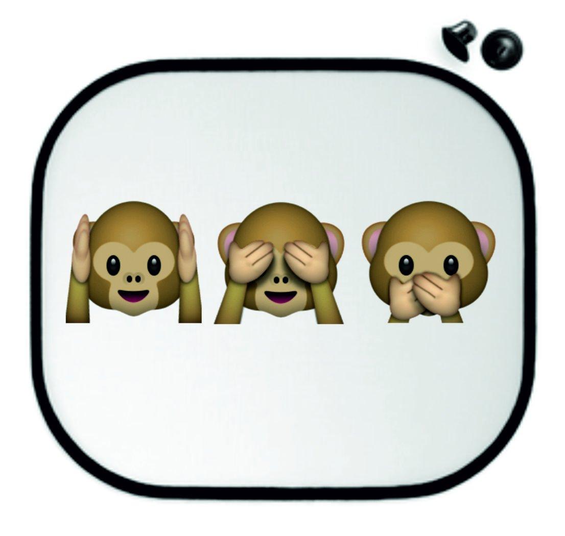 Sun Protection 45x39 Nothing-Evil-Hear-See-Saying Monkey Car Sun Visors - Side Shields Anti-Sunscreen - Smiley- Emoji