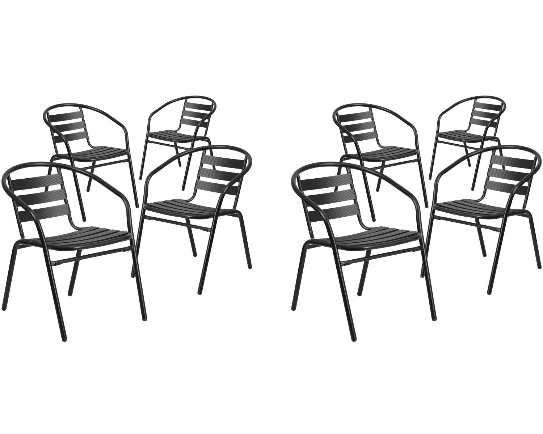 Flash Furniture. Black Metal Restaurant Stack Chair with Aluminum Slats (8 Pack, Black)