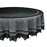 """DII 100% Polyester, Machine Washable, Holiday, Nordic Lace Tablecloth, 70"""" Round Seats 4 to 6 People, Black"""