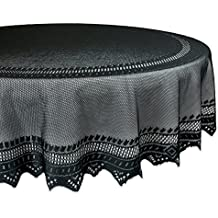 "DII 70"" Round Polyester Lace Tablecloth, Black Nordic - Perfect for Halloween, Dinner Parties and Scary Movie Nights"