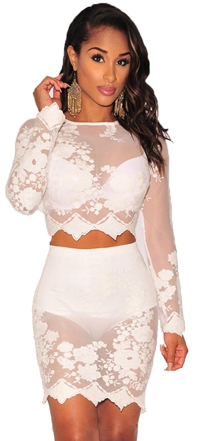 Women Sexy Floral Mesh See Through Two Piece Bodycon Dress Crop Top And Mini Skirt