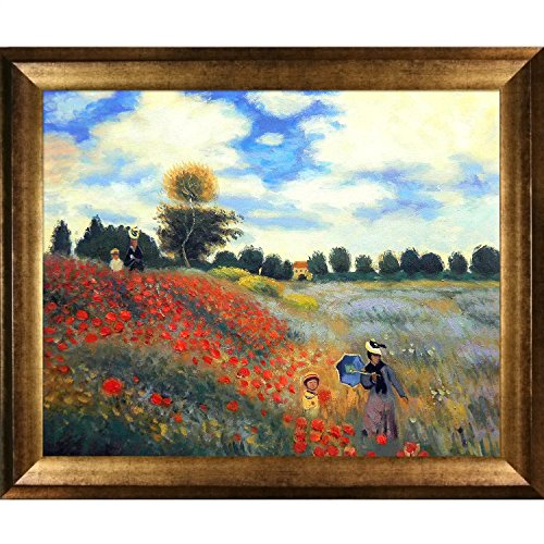 Hand-Painted Reproduction of Claude Monet Poppy Field in Argenteuil Framed Oil Painting, 16 x 20 (Poppy Field Argenteuil)