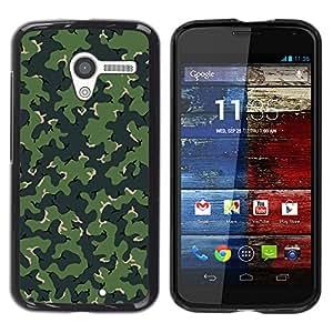 MOTO X / XT1058 / XT1053 / XT1052 / XT1056 / XT1060 / XT1055 , Radio-Star - Cáscara Funda Case Caso De Plástico (Camo Camouflage Green Pattern)