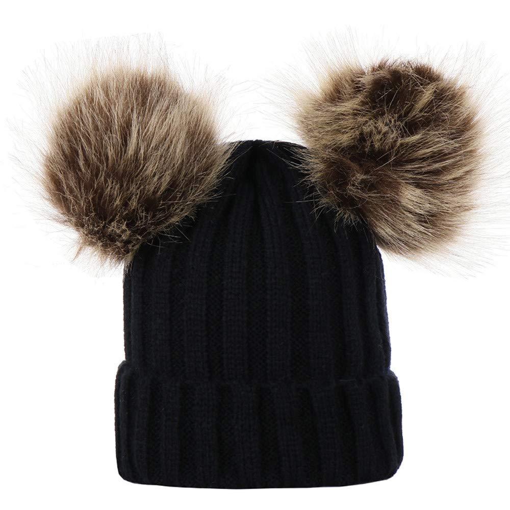Sinwo Children Baby Keep Warm Winter Beanie Cap Fur Ball Knitted Wool Cap Hat (Black)