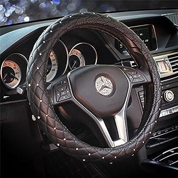 Sino Banyan Girly Diamond Bling Steering Wheel Cover15 InchBlack