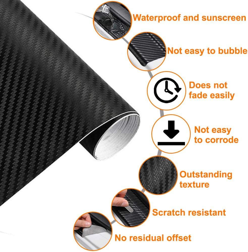 3D-Effekt Autoaufkleber Autofolie AOBETAK Carbon Folie Auto Matt schwarz mit Kunststoffschabern 300 cm x 30 cm Vinyl Selbstklebend Carbonfolie f/ür Auto und Motorrad DIY Innen//Au/ßen