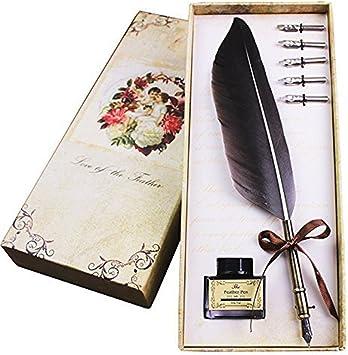 Feather Quill Pen Vintage Feather Dip Ink Pen Set Copper Pen Stem Writing Qui...