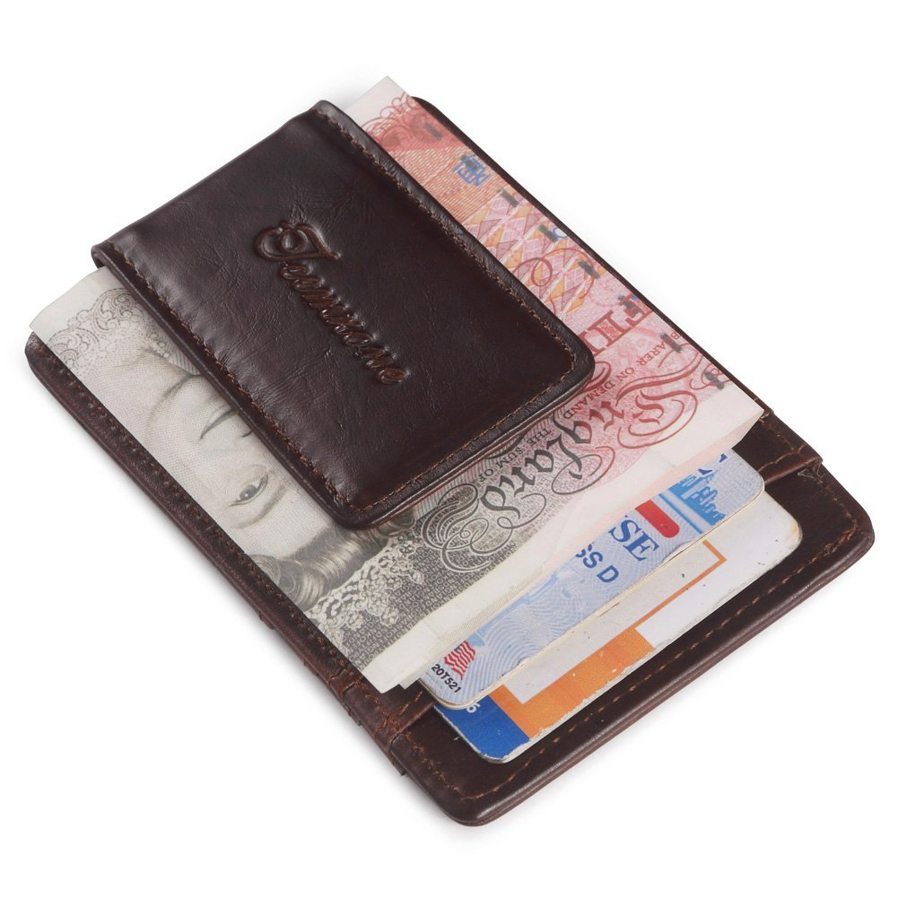 Brown Teemzone/® Mens Wild Crazy Horse Leather Money Magnetic Clip ID Case Card Holder Pocket