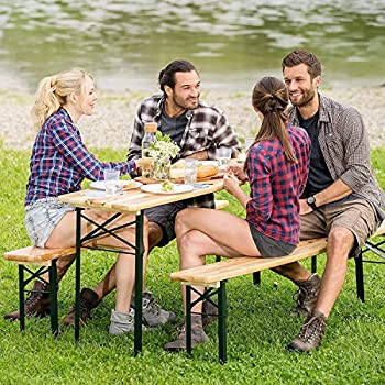 "Giantex 3-Piece Portable Folding Picnic Beer Table with Seating Set Wooden Top Picnic Table for Patio Outdoor Activities Garden Use, 30"" Table Height"