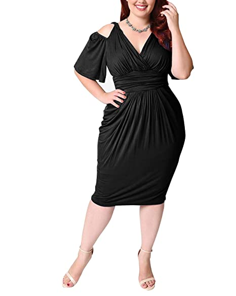 Hply Women New Sexy V Neck Classy Party Dress Casual Plus Size Swing