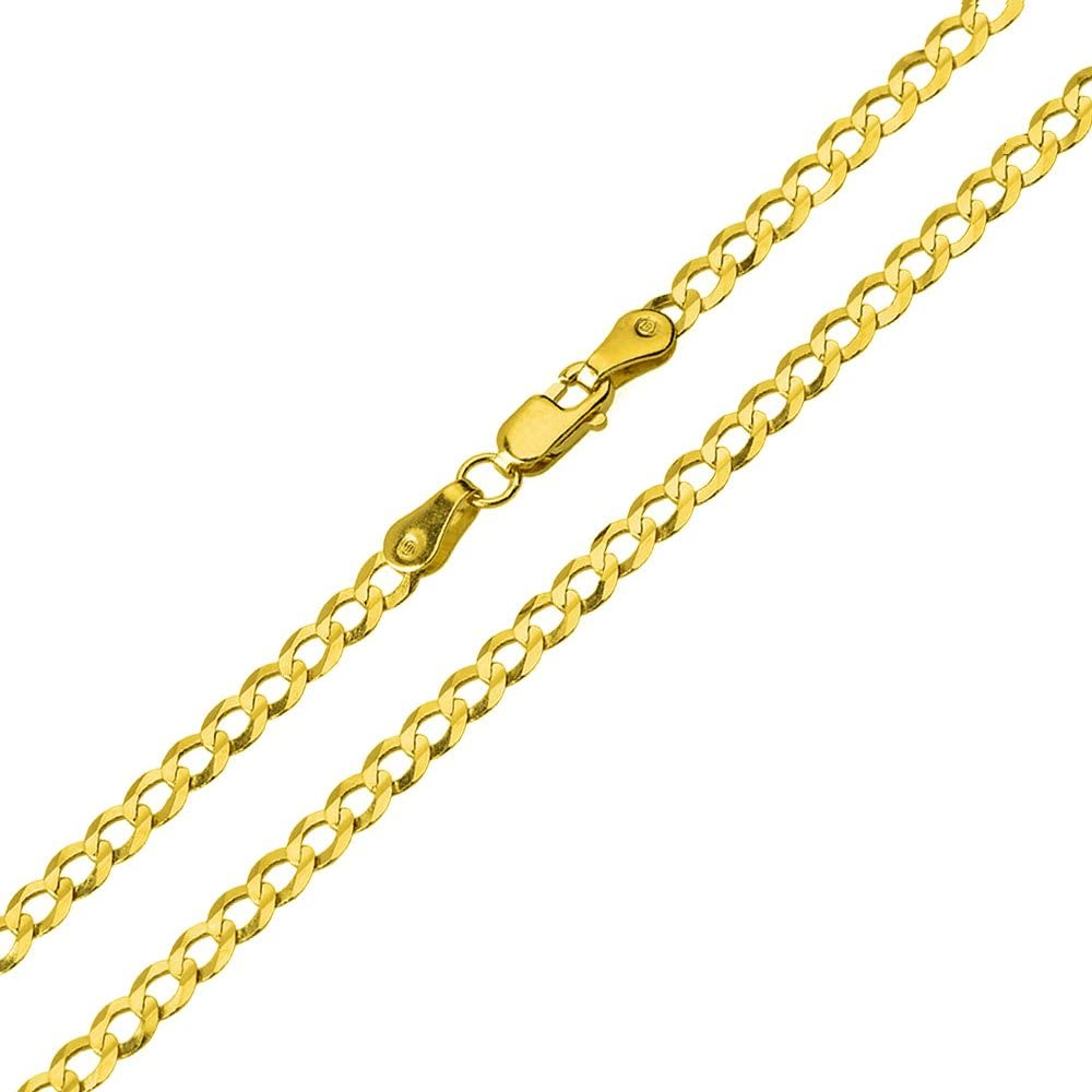 High Polish 14K Two-Tone Gold Plain Slender Cross Pendant with Chain Necklace