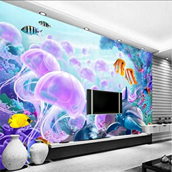 Amazon Com Xbwy Wallpaper 3d Custom 3d Stereo Dolphin Jellyfish Underwater Fish Coral Tv Backdrop Wallpaper Living Room Children Room Mural 120x100cm Kitchen Dining