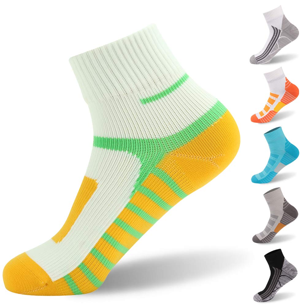 Ankle Socks, [SGS Certified]RANDY SUN Unisex Waterproof & Highly Breathable Canoeing Socks White & Yellow & Green Large 1-Pair by RANDY SUN