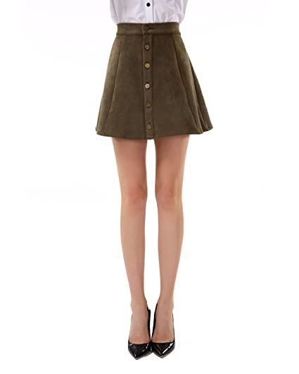 f725cd9902351 Apperloth Women s Solid Swing Skirts High Waist Suede Button A-Line Mini  Skirt