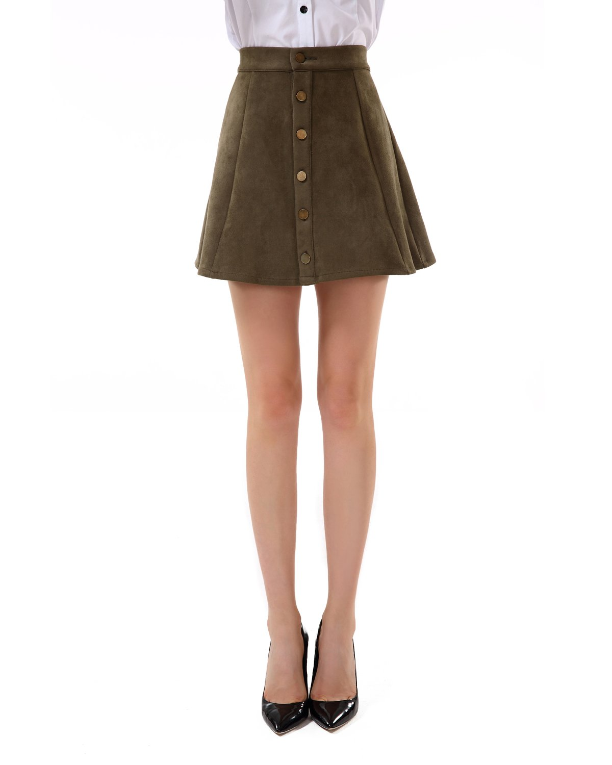 Apperloth Womens High Waist Suede Button Closure Solid A-Line Mini Short Skirt