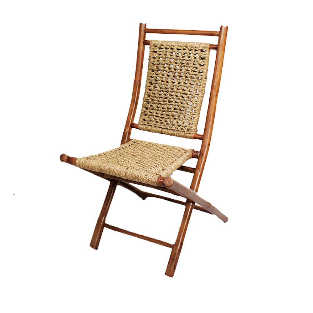 Heather Ann Creations Bamboo Folding Chairs with Open Link Combo Weave, Pack of 2, Natural
