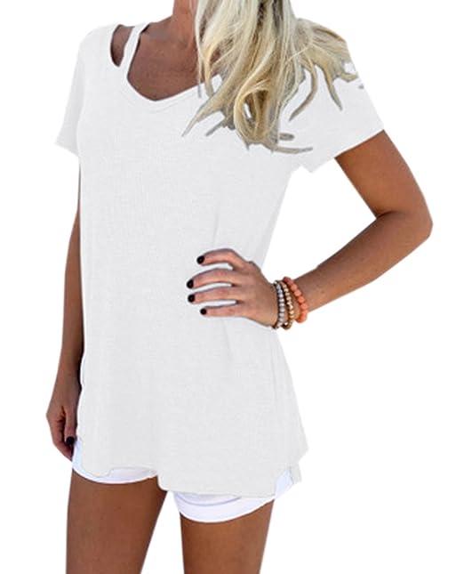 Mujer Moda Cuello V Manga Corta Camisetas Remata Blusa Tejer Largo Tops Camisas Túnicas, Verano Nuevo: Amazon.es: Ropa y accesorios