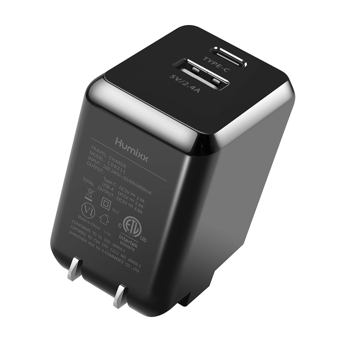 Humixx 24W Dual Port PD+USB Travel Charger Adapter Dual Charging Port 5V/4.8A (Type-C: 5V/2.4A, USB: 5V/2.4A) Portable Fast Charger for iPhone 8/8 Plus, iPhone X, iPad Pro, MacBook etc.
