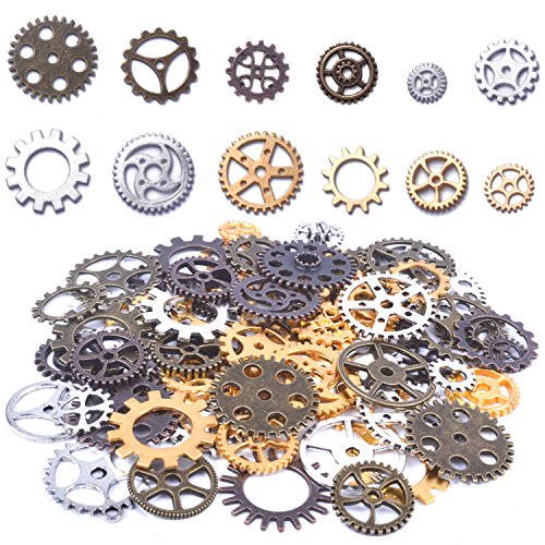 (100 Gram Assorted Antique Steampunk Gears Charms Pendant Clock Watch Wheel Gear for Crafting, DIY Jewelry (Mixed)