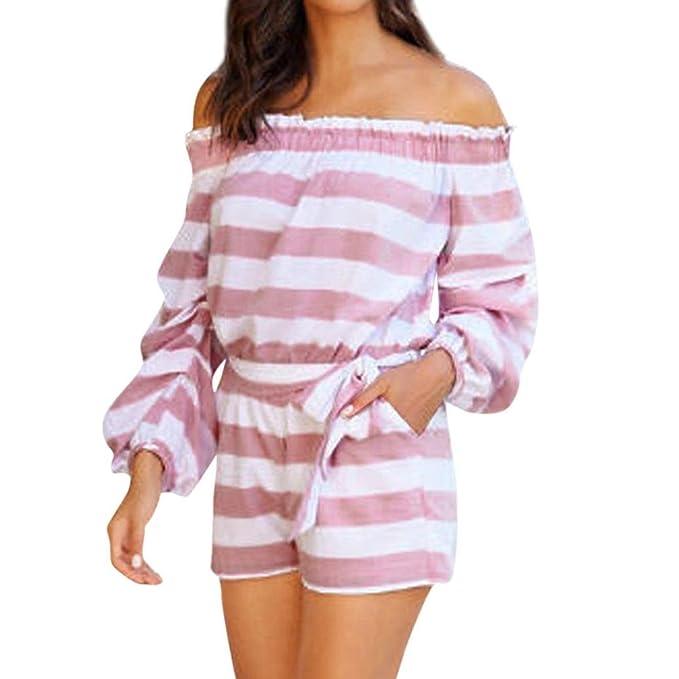 Teresamoon Women Off Shoulder Strinped Long Sleeve Casual Pocket Mini Romper Sunjumpsuit
