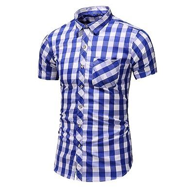 d5e86c5ca41ff Linkay Homme Chemisier Homme Chemise Manche Courte Été Chemise Impression  Grandes Tailles Mode Loisirs Chemise Mode 2019: Amazon.fr: Vêtements et ...