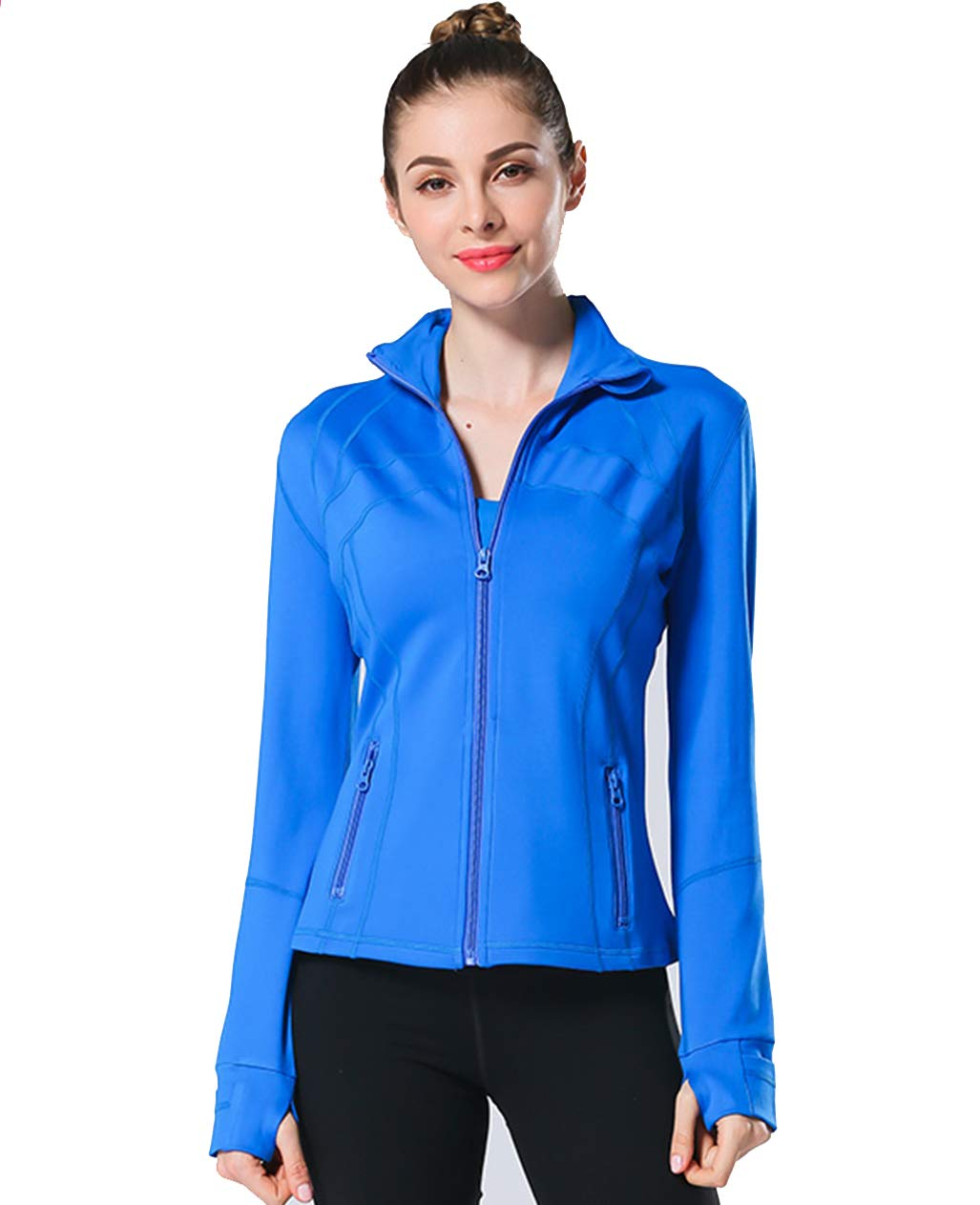 UDIY Women's Stretchy Performance Full-Zip Workout Yoga Sports Coats with Thumb Holes Blue by UDIY