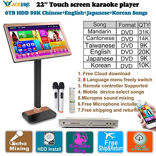 6TB HDD 99K Chinese DVD English DVD+Japanese DVD+Korean DVD Songs,22'' TSR Touch Screen Karaoke Player,Wireless Microphone Input,ECHO Mixing, Cloud download.Remote Controller, Free Microphone Included (Korean Karaoke Dvd)