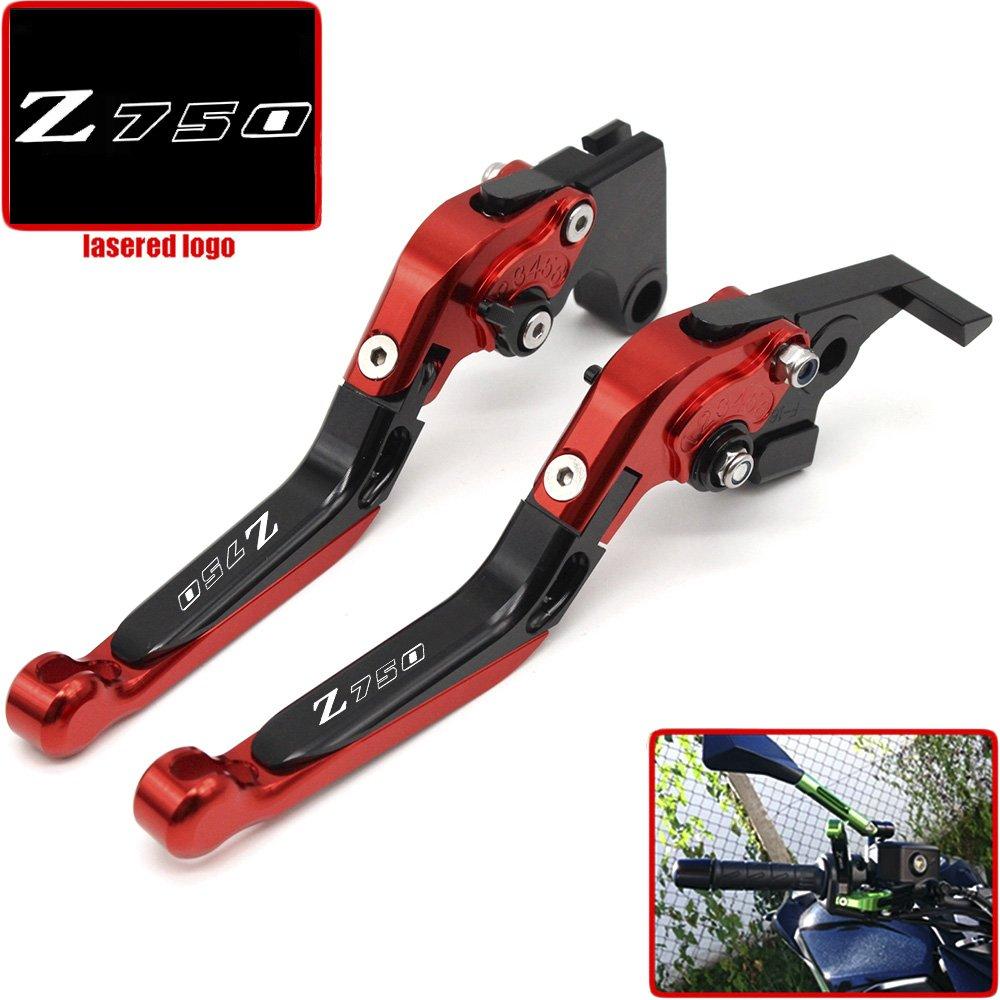 Leva freno frizione CNC pieghevole e estendibile per moto Kawasaki Z750, Z 750 (non per il modello Z750S) 2004, 2005, 2006, con logo a laser. Z 750 (non per il modello Z750S) 2004 2005 2006 Yanghua