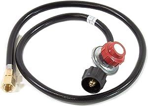 "Propane High Pressure Adjustable Regulator (0-20 PSI) for Fire Pit Burners (1/2"" NPT Threads)"