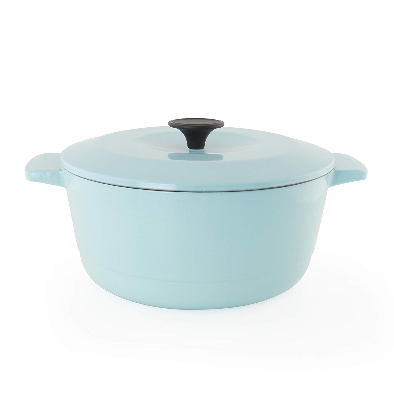 Chantal 5 Quart Cast Iron Oven Safe Dutch Oven Kitchen Cookware, Light Blue