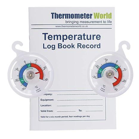 Libro de registro de temperatura con doble paquete de 65 mm de ...