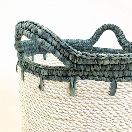 Cape Cod Wicker (Whole House Worlds The Cape Cod Blue and White Wicker Bucket Basket, Shabby Faded Soft Polyester Tops and Handles, 14 1/4 Diameter x 15 3/4 Inches Tall, By)