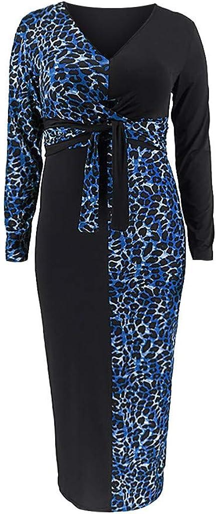 JFLYOU Women Plus Size Leopard Print Patchwork Tight V-Neck Long Sleeves Dress XL-5XL