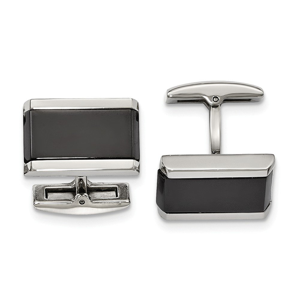 Stainless Steel Polished Black Simulated Onyx Rectangle Cuff Links
