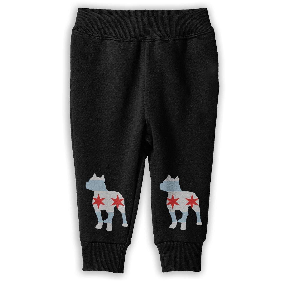 Unisex Baby Athletic Pants NJKM5MJ Patriotic Pitbull Chicago Flag Sweatpants