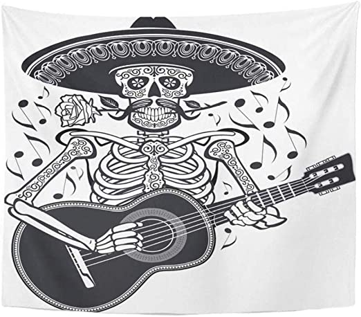 Hividd Tapiz Esqueleto De La Banda con Sombrero De Paja Y Tocando ...
