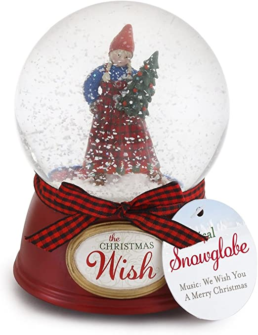 Lightahead Christmas Lighted Rotating Music Box Snow Globe with Snowman Inside Falling Snowflakes Music Playing