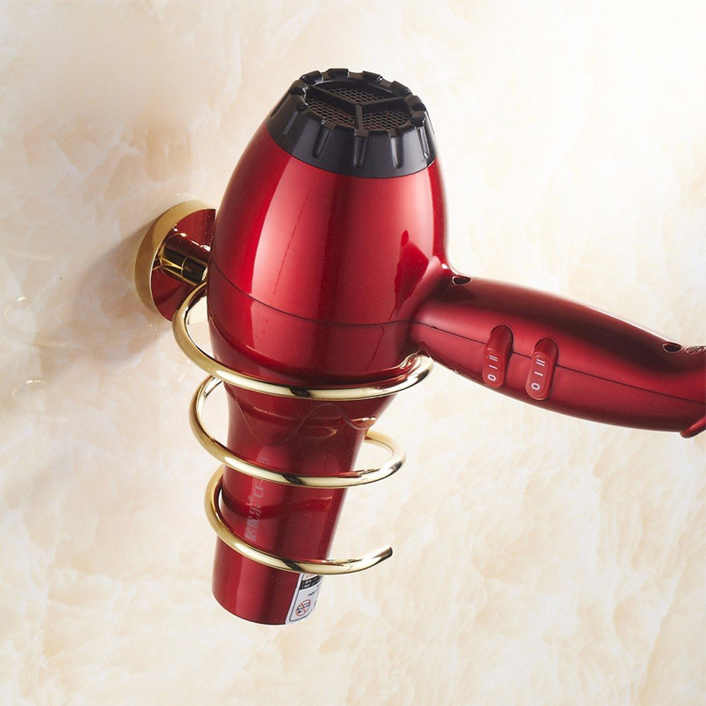 OLQMY-Full Copper Hair Dryer, Bathroom Wall Hanging Type Blower Frame,Luxury Gold