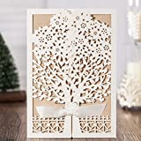 Jofanza Rustic Laser Cut Wedding Invitations set of 50pcs Ivory Invitation Cards with Kraft Insert for Engagement Baby Shower Birthday Quinceanera (set of 50pcs) CW6176 (white)