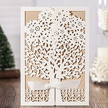 Jofanza Rustic Laser Cut Wedding Invitations Set Of 50pcs Ivory Invitation  Cards With Kraft Insert For Engagement Baby Shower Birthday Quinceanera  (set Of ...