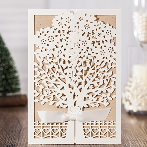 50PCS Wedding Invitation Jofanza Rustic Laser Cut Wedding Invitations Ivory Invitation Cards with Kraft Insert for Engagement Baby Shower Birthday Quinceanera (CW6176) (White)
